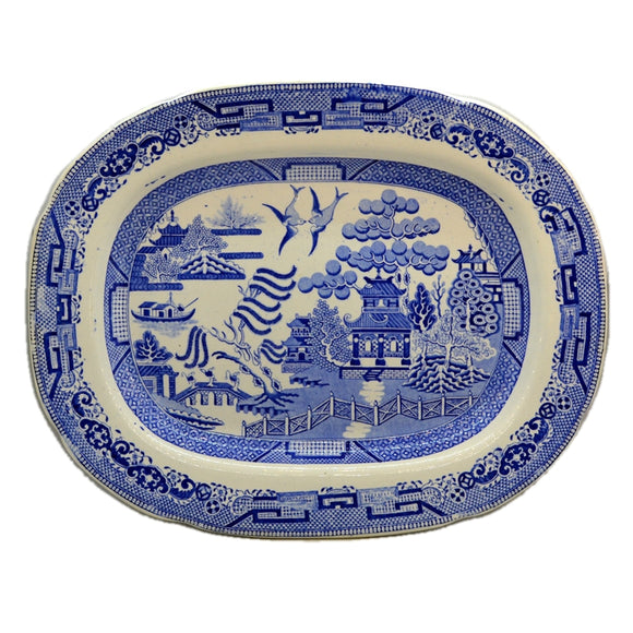 Antique Blue and White China Willow Pattern Meat Platter