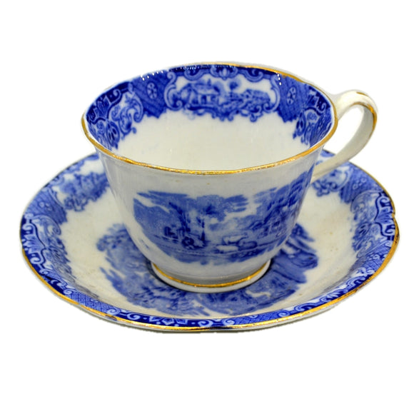 Heathcote Blue and White China Old English Scenery Breakfast Cup & Saucer