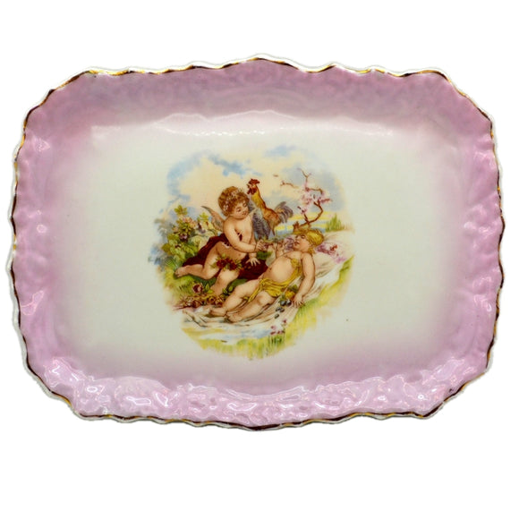 Antique Cherub Cupid Porcelain China rectangluar Cabinet Plate