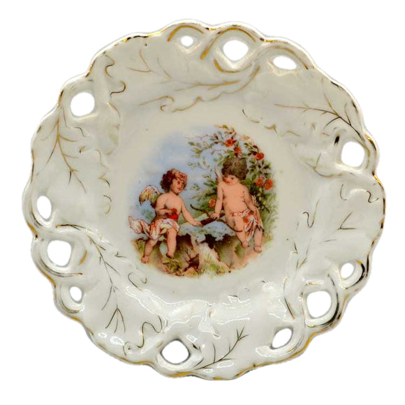 Antique China Cherub Pierced Oak Leaf China Cabinet Plate