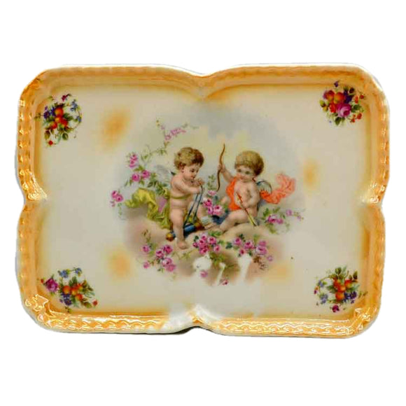 Antique Cherub Cupid Porcelain ELF China rectangluar Cabinet Plate