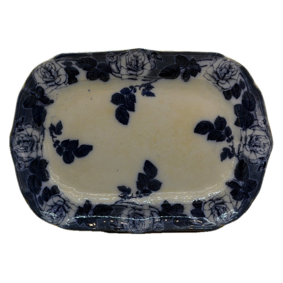 Antique Blue and White Floral China Platter