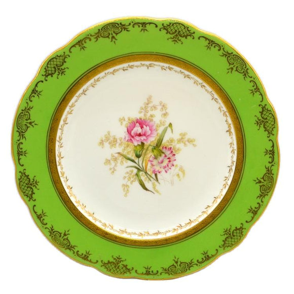 Coalport floral china caninet plate pink carnation antique china c1910