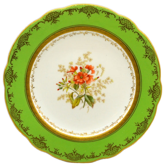 Coalport floral china caninet plate Orange Periwinkle antique china c1910