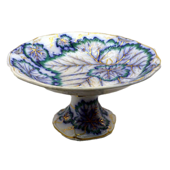Antique davenport tazza stand 807 majolica ivy leaf pattern
