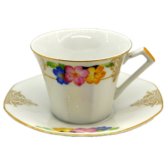 Art Deco Floral China Teacup and Saucer