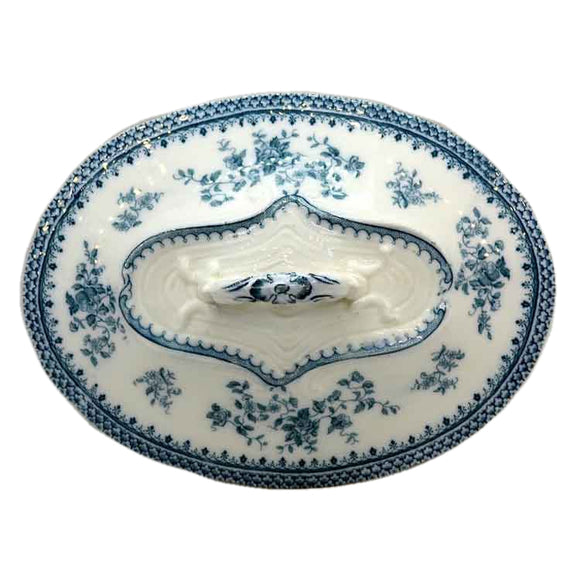 Antique Burgess & Leigh Florida Blue and White Floral China Tureen Lid