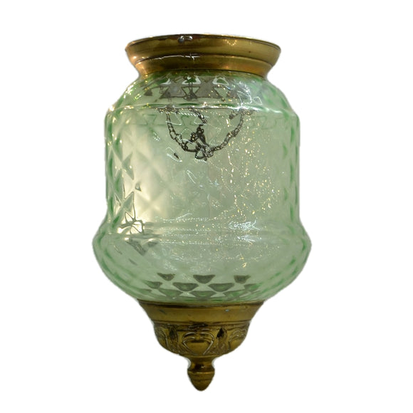 Antique Glass Ceiling Lamp Shade Brass & Pressed Green Glass