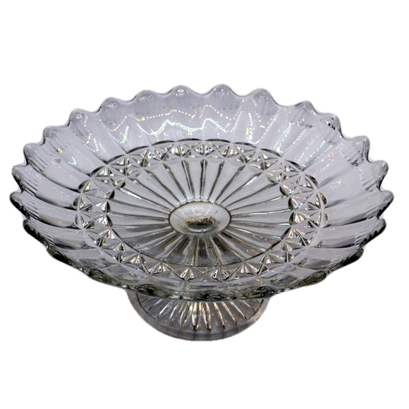 Early English scalloped glass stand