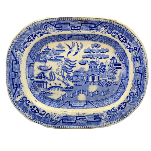 Antique Blue and White Ironstone China Willow Pattern Platter