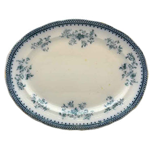 Antique Burgess & Leigh Florida Blue and White Floral China Oval Platter