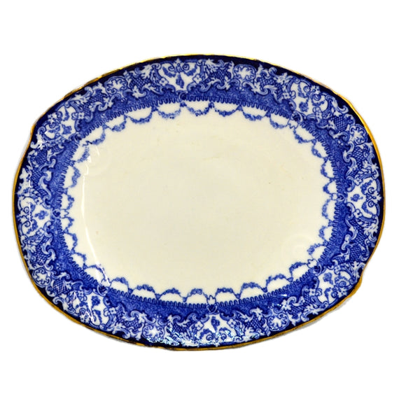 Royal Doulton China Watteau Floe Blue and White Platter c1911