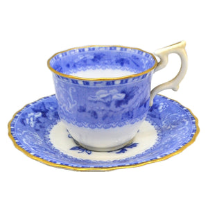 Exquisite Antique Spode R1464 Blue and White China Camilla Demitasse Cup & Saucer