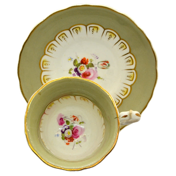 antique hand painted floral tea cup and saucer