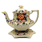 Victorian Gaudy Welsh Hexagonal Teapot and Stand