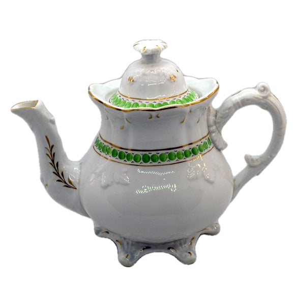 Antique Green and White China Teapot c1840-1860