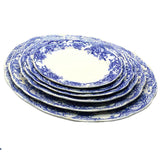 Antique Blue and White floral china Wild Rose Platter set
