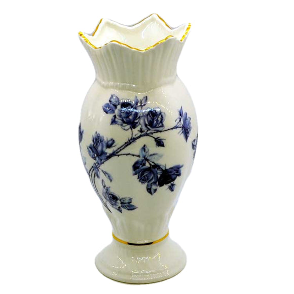 Aynsley Elizabeth Rose Bud Vase Blue and White China