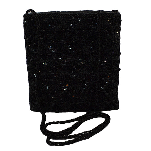 black bead evening bag with long shoulder strap