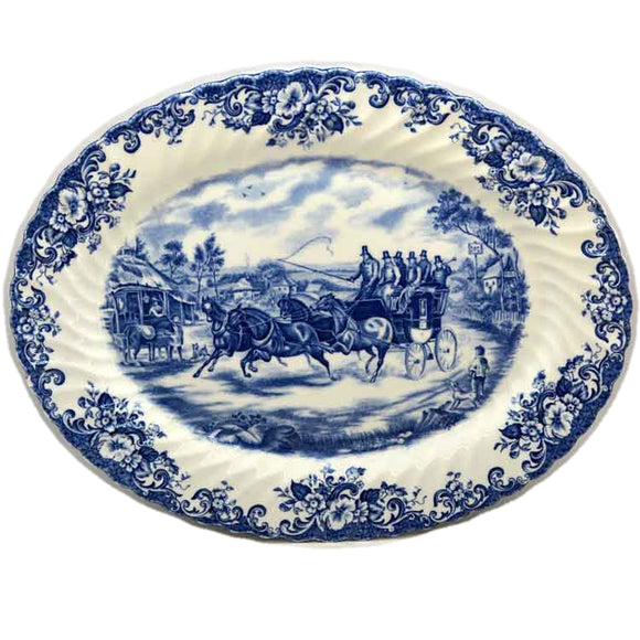 Johnson Brothers Blue and White China Coaching Scenes Passing Through Serving Platter
