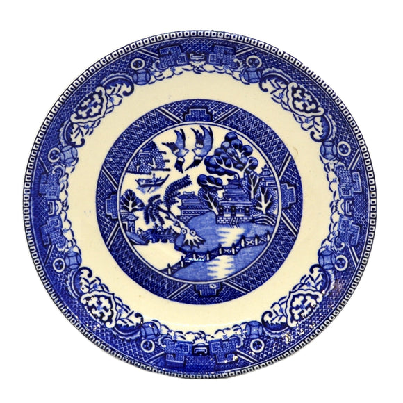 Blue and White Willow Two Temples china saucers