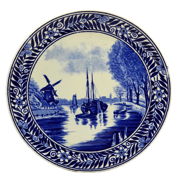 Boch Deltfs Flow Blue and White China 8.5-inch Wall Plate
