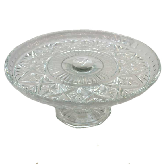Large Bohemian Glass Czechoslovakian pressed glass high cake stand with rim