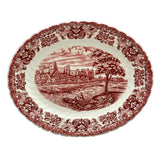 red and white china serving plate