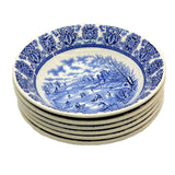 Broadhurst Delft Blue and White China Cereal or Dessert Bowls