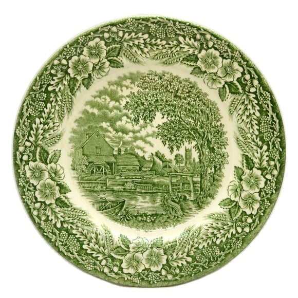 Broadhurst Ironstone Green and White China Dessert Plate