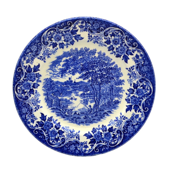 Broadhurst Ironstone blue and white china English scenes side plate