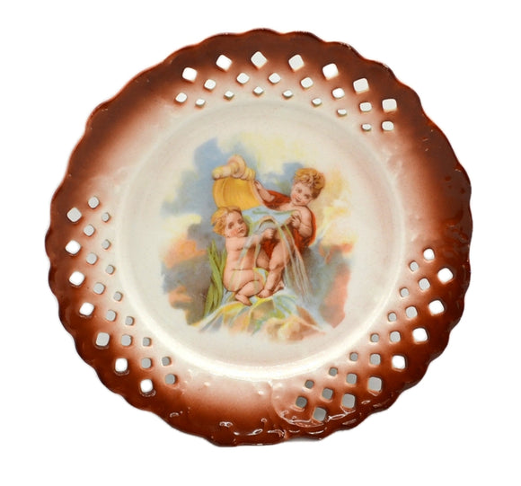 Antique Brown Rim Cherub Pierced China Cabinet Plate