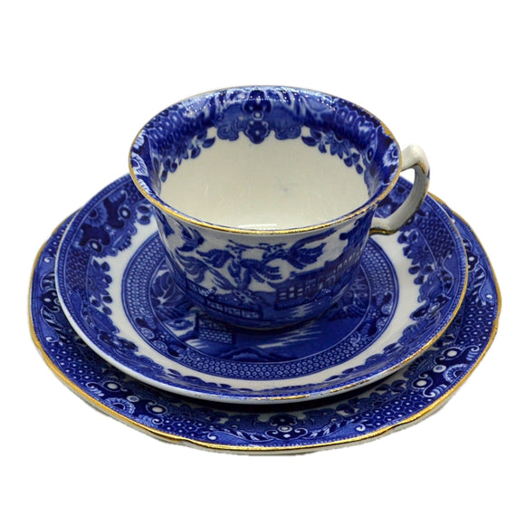 Burgess & Leigh Burleigh Ware Willow Blue and White china Tea Cup Trio 1935
