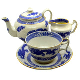 4 piece antique blue dragon cauldon china tea set