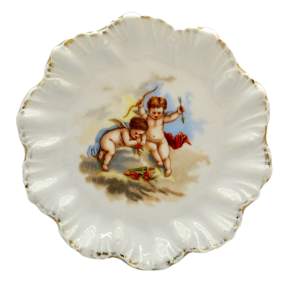 Cherub Cupid Porcelain China Shell rimmed Cabinet Plate