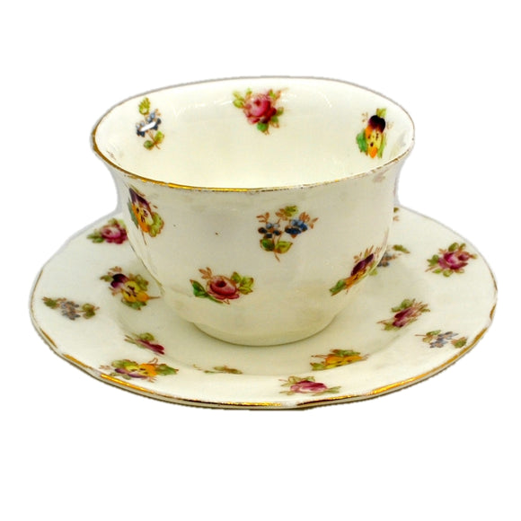 Antique Shelley Floral China Tea Bowl and Saucer