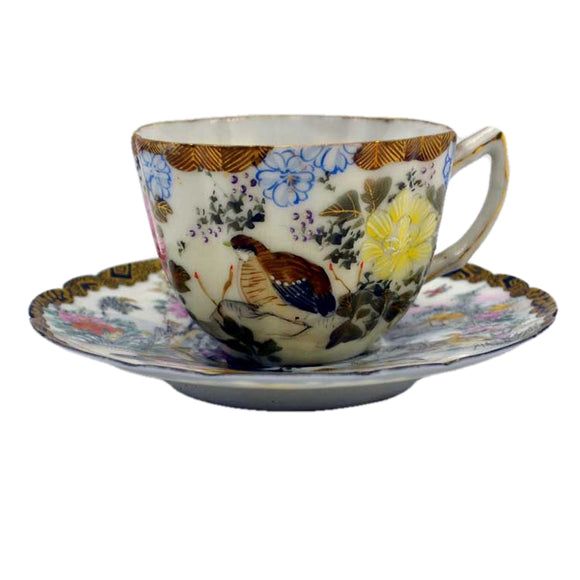 chinese hand coloured teacup and saucer