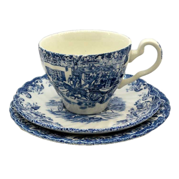 Johnson Bros Blue and White China Coaching Scenes Hunting Country Teacup Trio