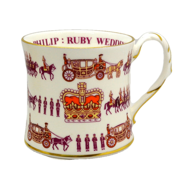 Coalport China Commemorative Queens Ruby Wedding Mug 1987