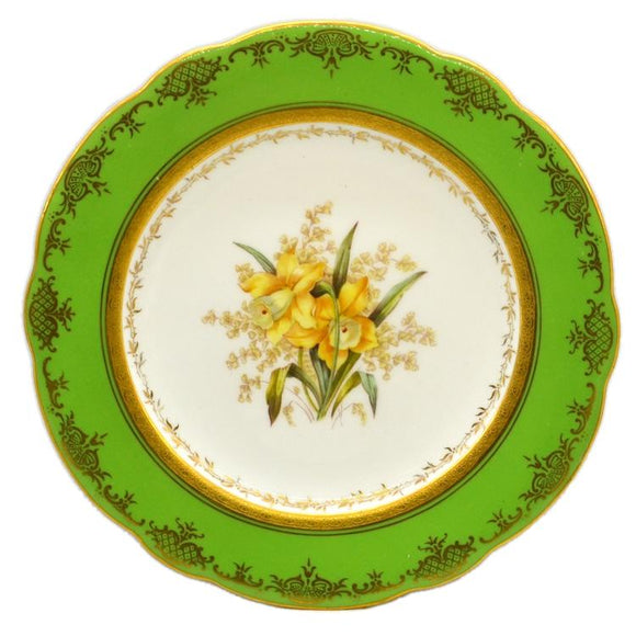 Coalport floral china caninet plate Daffodil antique china c1910