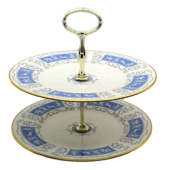 Coalport Revelry China Blue and White Cake Stand