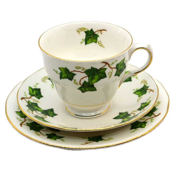 Colclough china ivy leaf tea cup trio