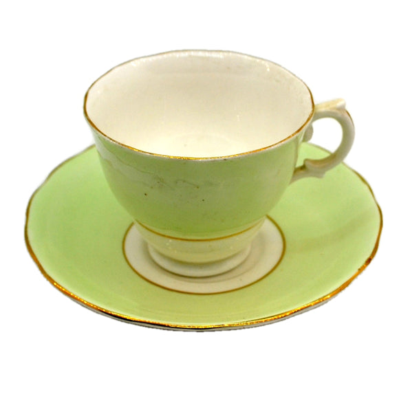 Colclough Harlequin China 6667 Peppermint Green Teacup and Saucer