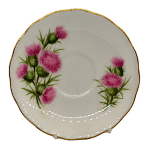 Colclough vintage china thistle 7608 pattern tea saucers