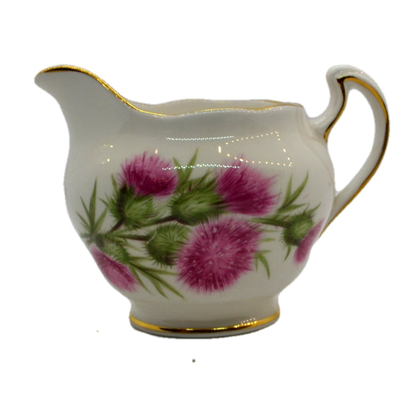 colclough thistle 7608 pattern vintage china milk jug