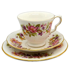 Colclough Wayside bone china tea cup trio pattern 8581 shape C