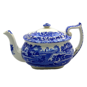 Antique Spode Blue Italian large Teapot