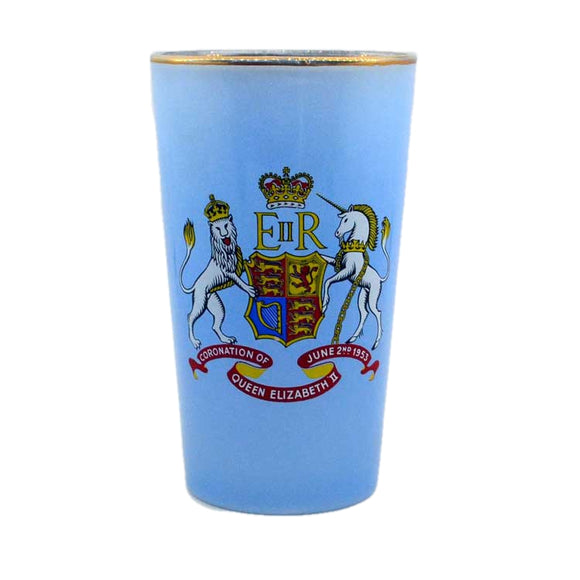1953 coronation glass beaker in opaque blue glass