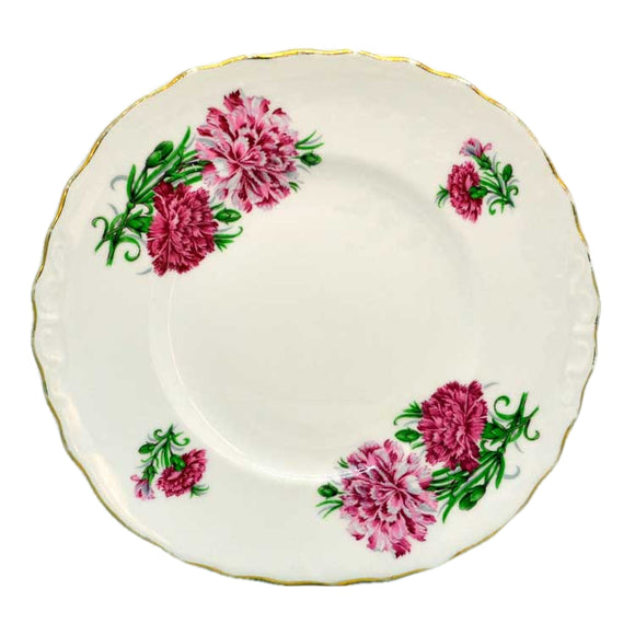 crown regent pink carnation cake plate