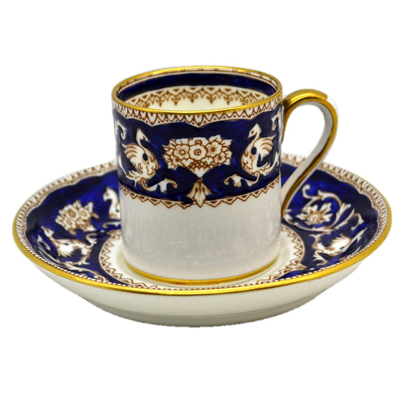 Crown Staffordshire Porcelain Demitasse Espresso Cups Imperial Cobalt Blue and White China